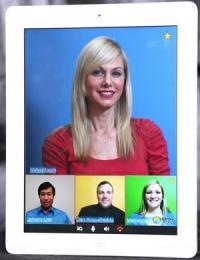 iPad com app de vídeo-conferência