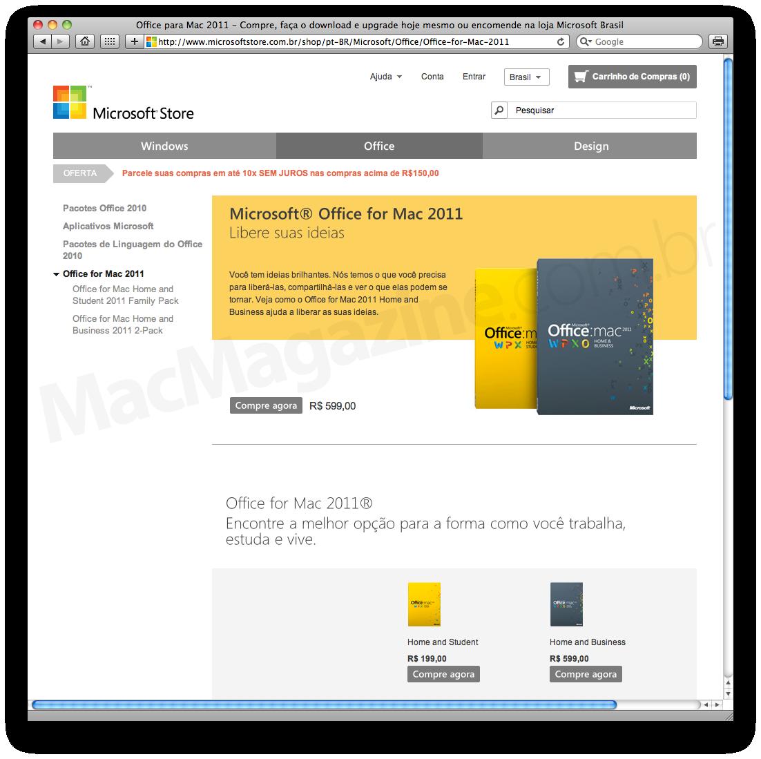 Office na Microsoft Store Brasil