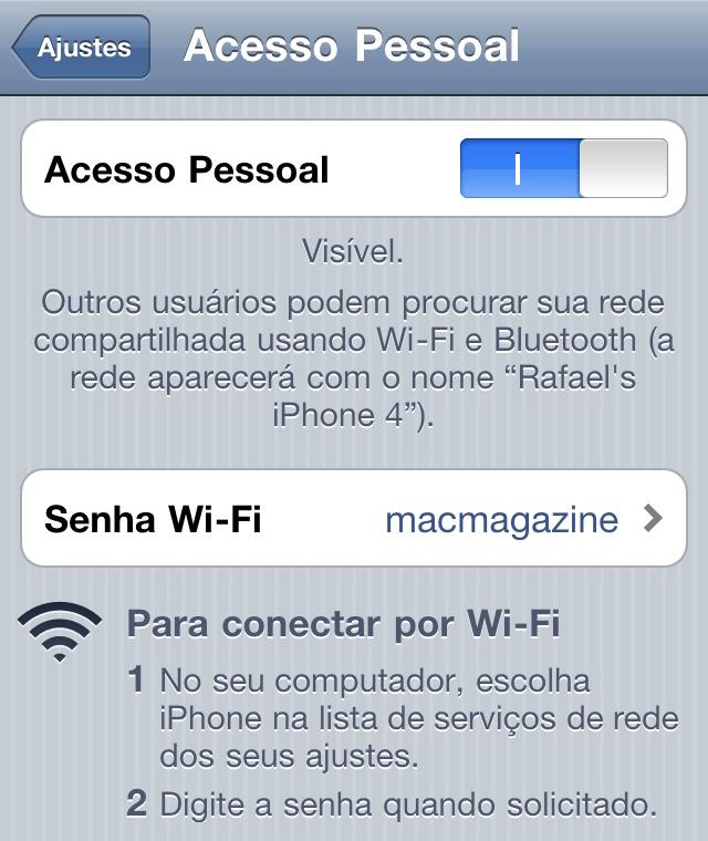 Acesso Pessoal no iOS 4.3
