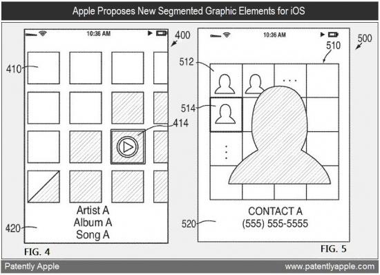 Patente de exibição de listas em grade de imagens