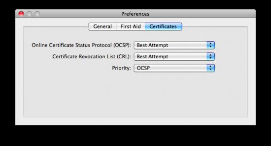Verificando certificados no Mac OS X