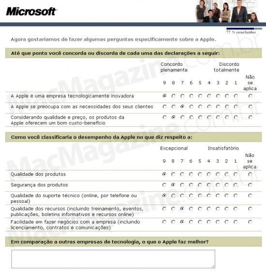 Pesquisa da Microsoft sobre a Apple