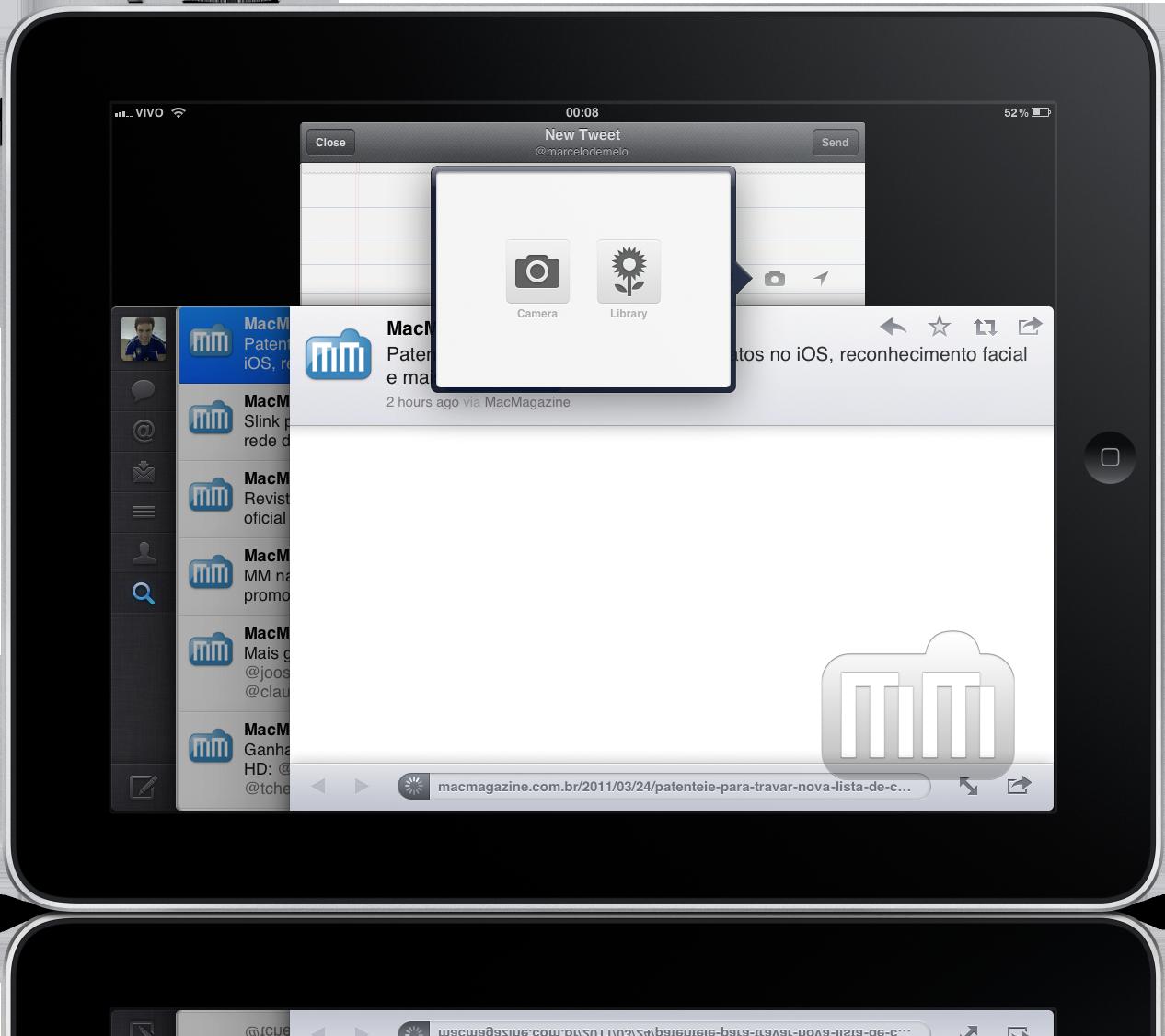 Twitter no iPad com suporte a câmeras