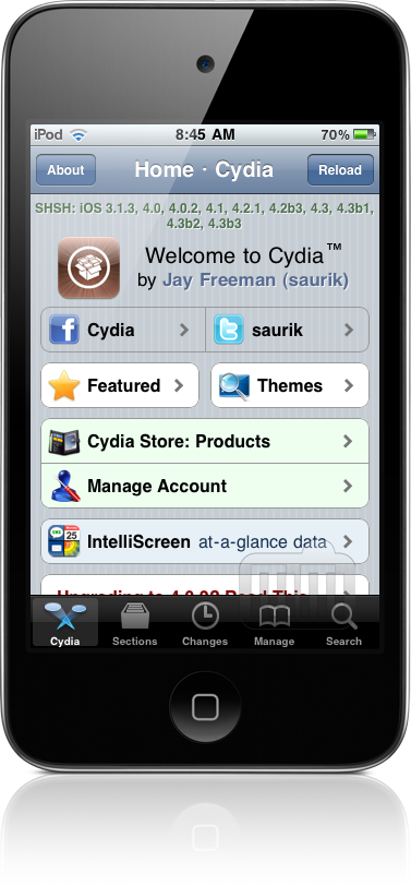 Cydia 1.1 num iPod touch
