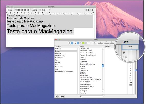 Tamanho de fontes no Mac OS X