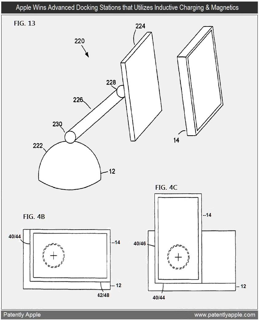 Patente de docks com recarga indutiva e ímãs