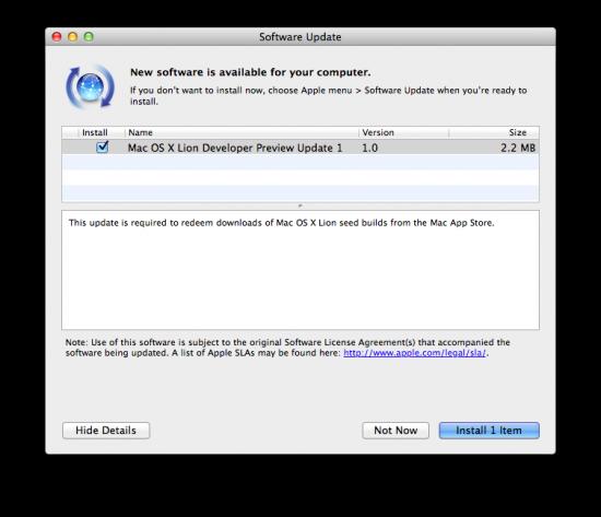 Update para o Mac OS X Lion Developer Preview