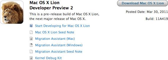 Mac OS X Lion Developer Preview 2