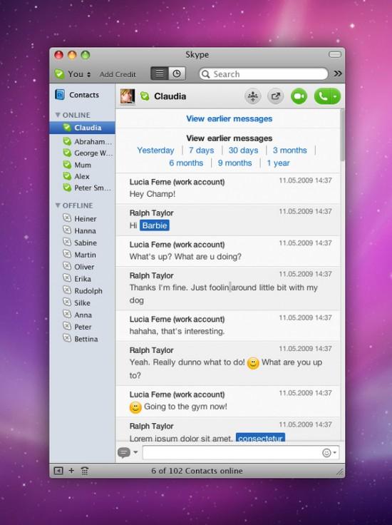 Redesign do Skype 5 pra Mac