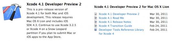 Xcode 4.1 Developer Preview 2