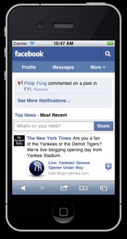 Novo site mobile do Facebook no iPhone