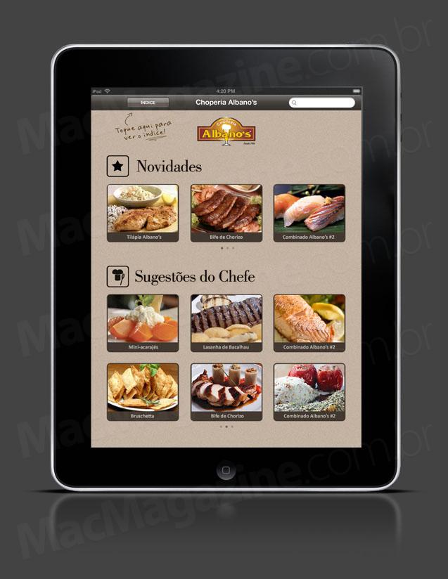 Cardápio da Choperia Albanos no iPad