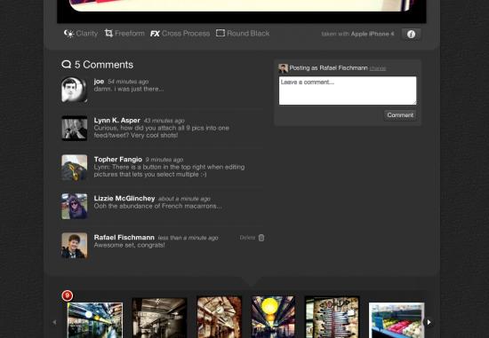 Perfil com comentários no Camera Plus