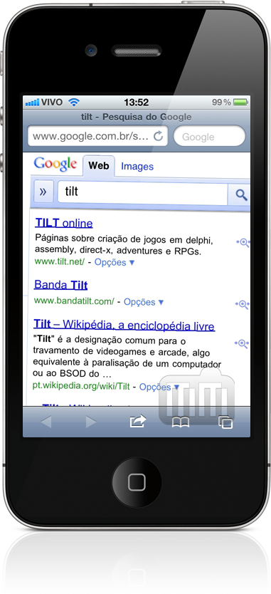 Tilt - Google no Mobile Safari