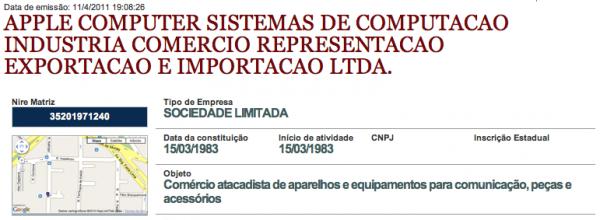 Nova razão social da Apple Brasil