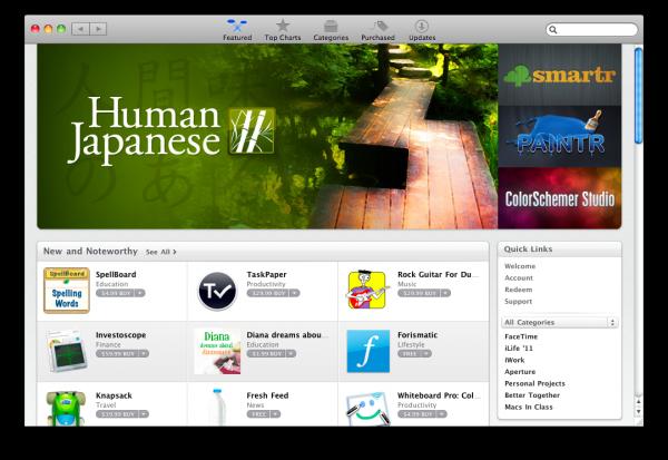 Janela da Mac App Store
