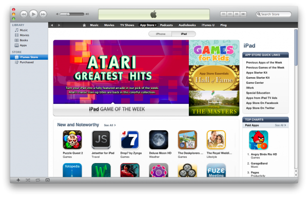 iOS App Store no iTunes