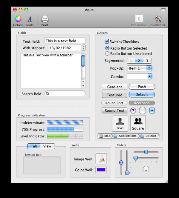 Controles Aqua no Mac OS X