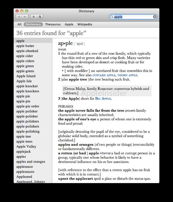 Janela do Dictionary no Lion