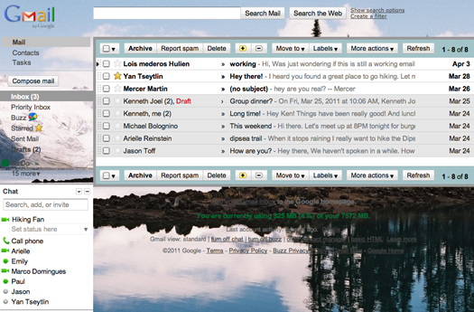 Imagens de fundo no Gmail