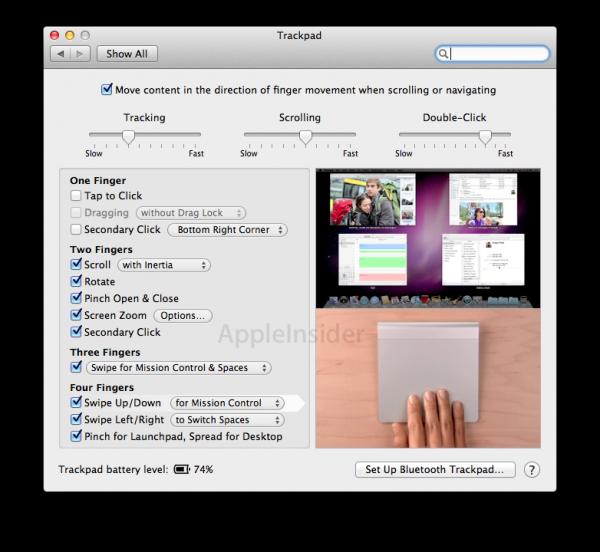 Trackpad do Mac OS X Lion