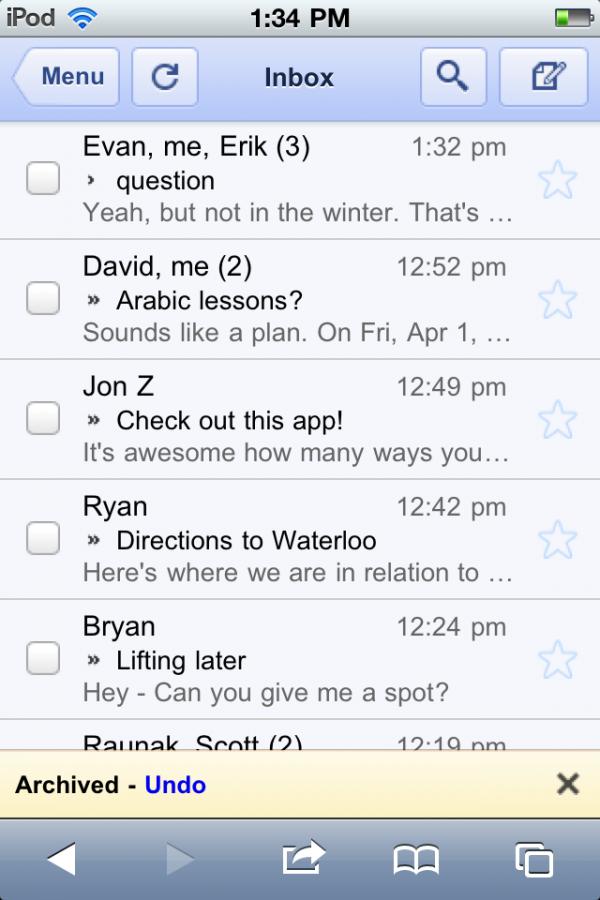 Undo no Gmail for mobile
