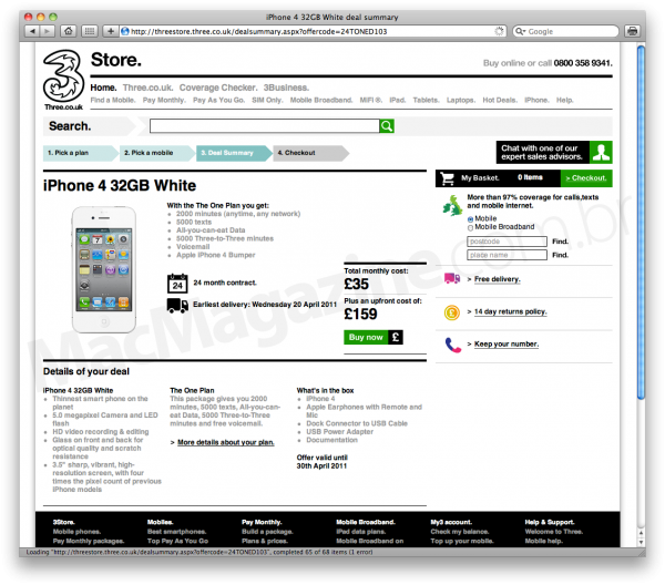 iPhone 4 branco na Three UK
