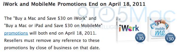 iWork e MobileMe sem promoções
