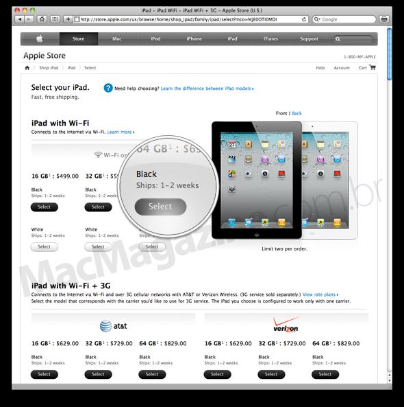 Estoques do iPad 2 nos EUA