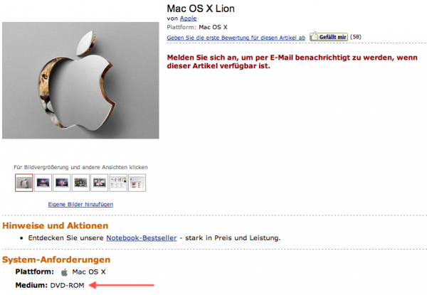 Lion em DVD na Amazon alemã