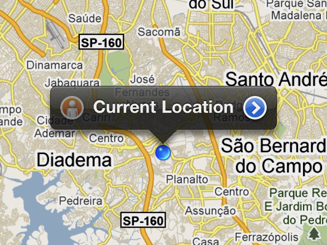 Localização marcada no Maps do iOS
