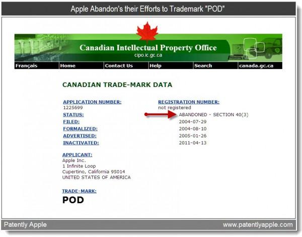 Desistência da marca POD pela Apple
