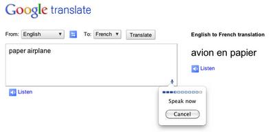Google Chrome com speech input