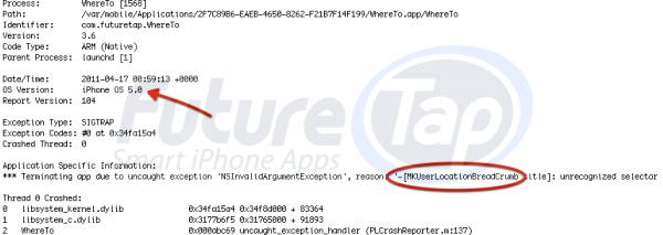 Relatório de erro no iOS 5