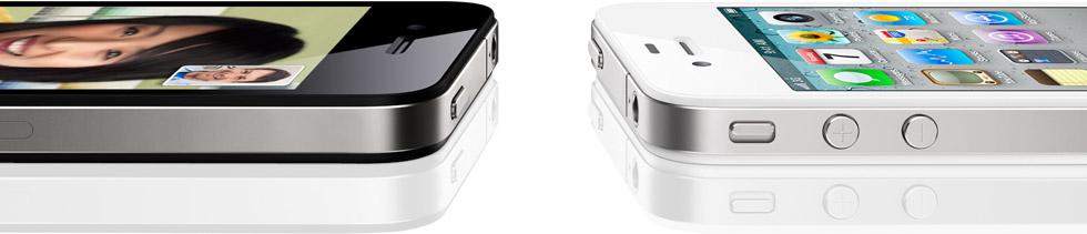 iPhones 4 preto e branco de lado