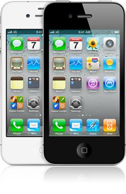 iPhones 4 branco e preto de frente