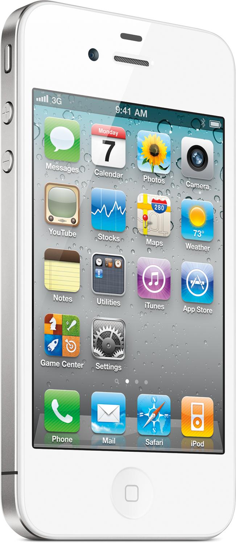 iPhone 4 branco frontal, de lado (grande)