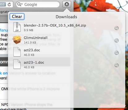 Downloads do Safari no Lion