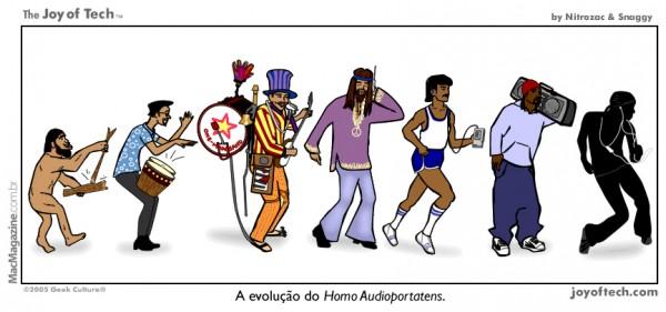 Joy of Tech - A evolucao do Homo Audioportatens