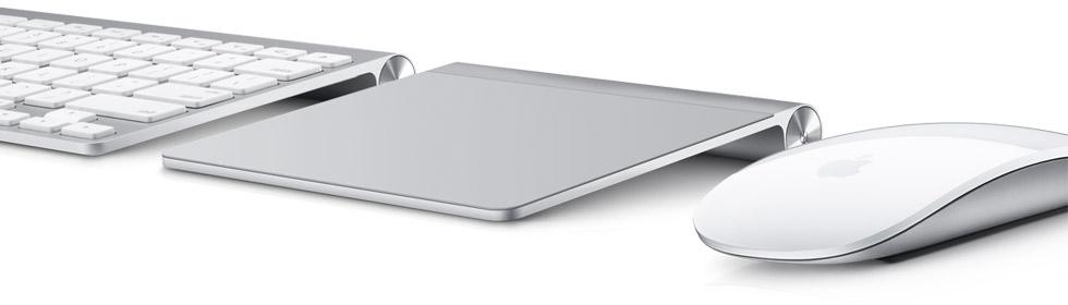 Apple Keyboard, Magic Trackpad e Magic Mouse lado a lado