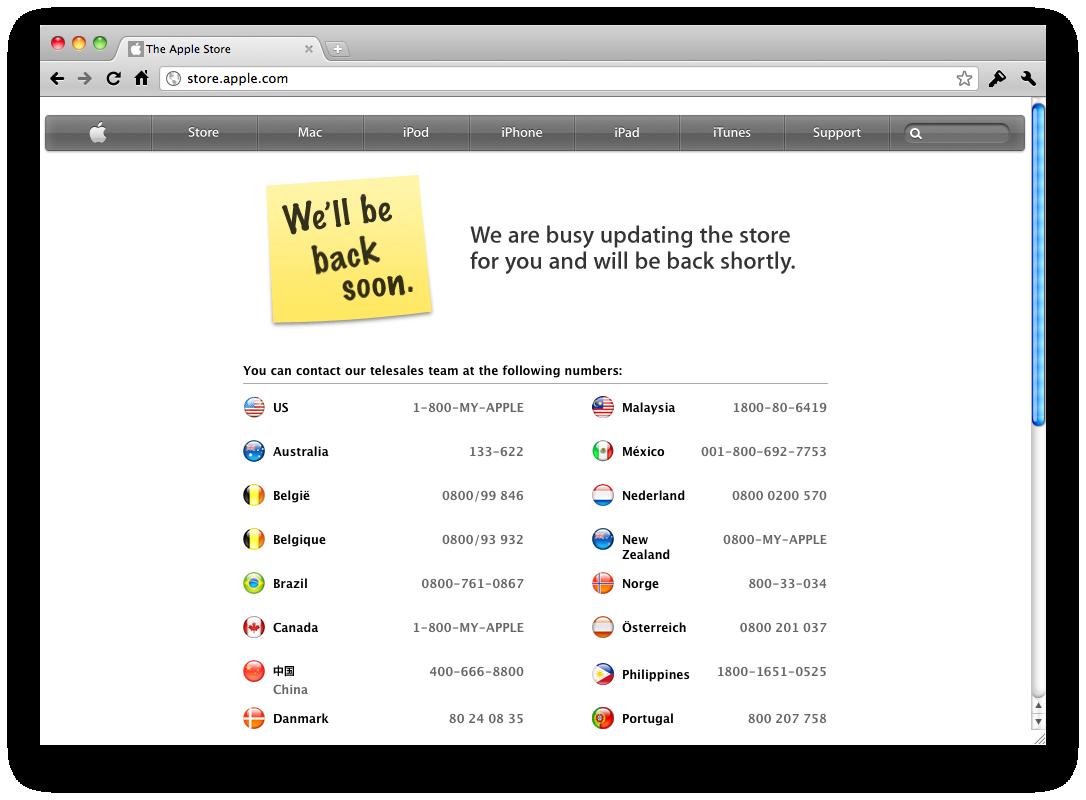 Lojas da Apple fora do ar