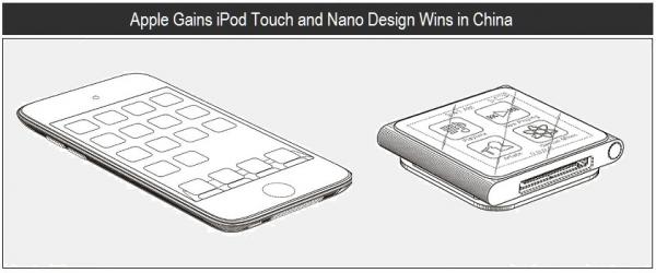 Designs dos iPods touch 4G e nano 6G