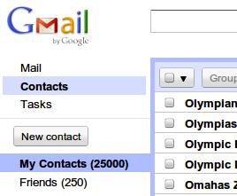 Contatos no Gmail