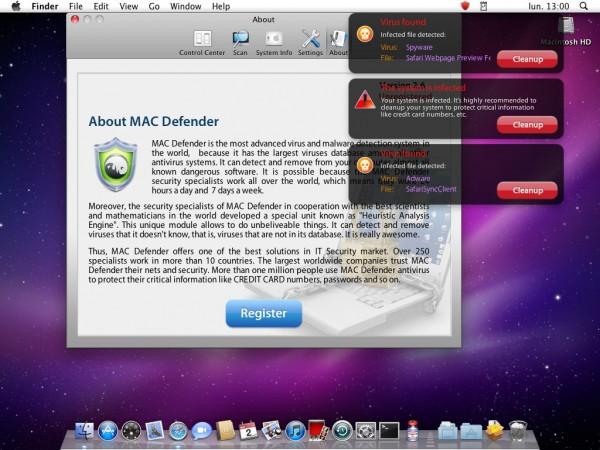 Mac Defender alertas