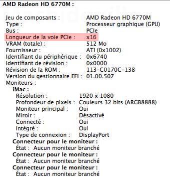 Especificações PCI Express do iMac