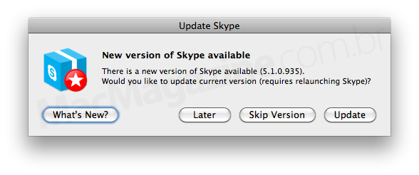 Update do Skype para Mac