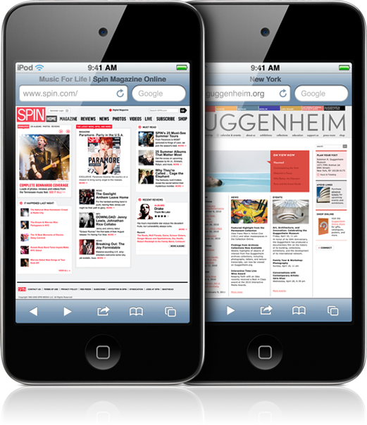 iPods touch no Mobile Safari