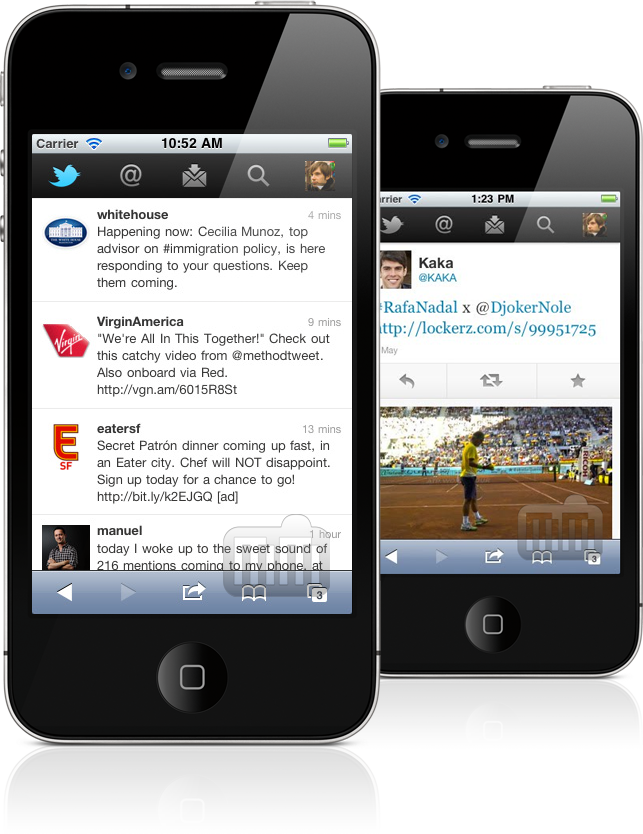 Web app do Twitter em iPhones