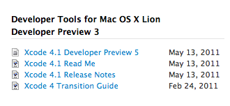 Xcode 4.1 Developer Preview 5