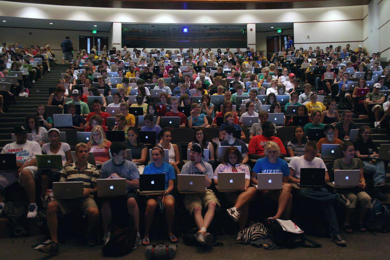 Alunos com Macs em universidade